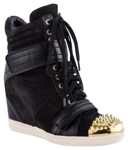 Boutique 9 Black & Gold Spike Toe Wedges