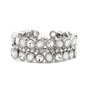 Mariell Crystal And Pearlized Cat's Eye Magnetic Cuff Bracelet 4142b