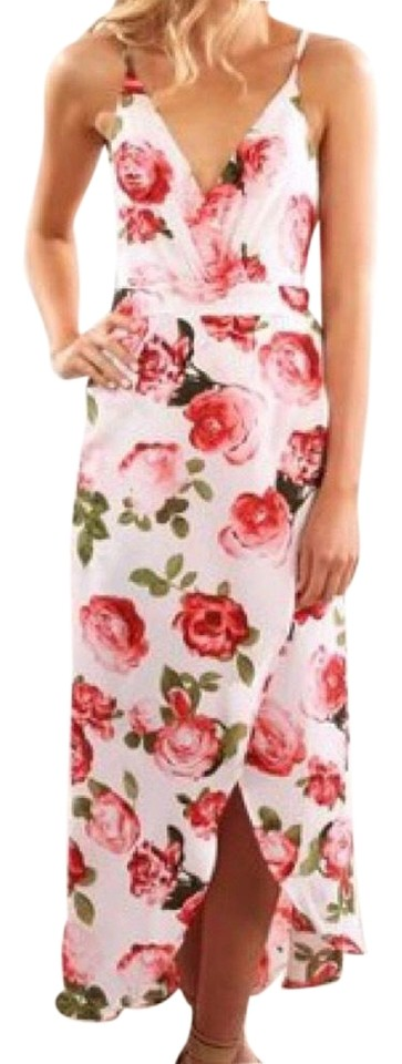 5439be12cd8 Blossom Red and White Jeanjail Floral Hi-lo Mid-length Casual Maxi ...