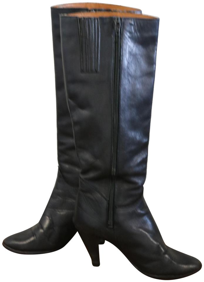 Black Vintage Knee 70s Leather Knee Vintage High Stiletto Boots/Booties d4cfb1