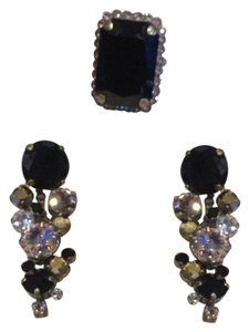 Sorrelli Sorrelli Black Fringe Collection Earrings and Cocktail Ring Set