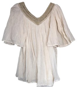 Scoop NYC Top ivory and gold