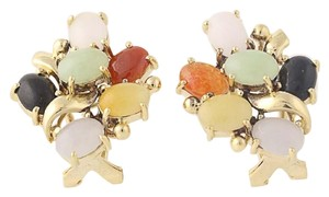 Other Jadeite & Onyx Cluster Earrings - 18k Yellow Gold Cabochon Cut N6947