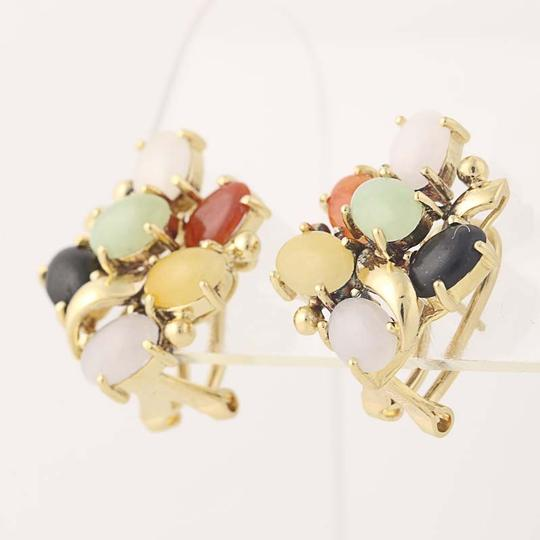 Other Jadeite & Onyx Cluster Earrings - 18k Yellow Gold Cabochon Cut N6947 Image 1