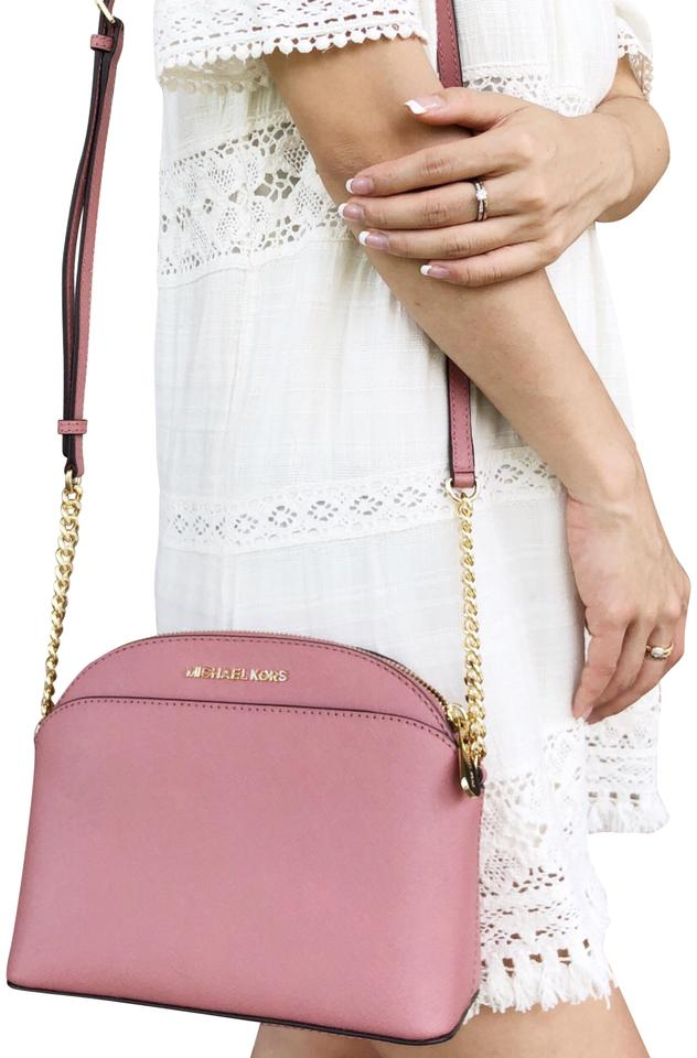 b1e0f8bf4947d2 Michael Kors Emmy Small Cindy Dome Brown Rose Pink Leather Cross Body Bag