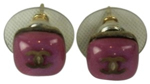 Chanel Chanel CC Purple Pierced Earrings CCAV216