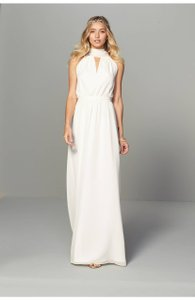 Joanna August Ivory Chiffon Riggs Halter V-neck Gown Modern Bridesmaid/Mob Dress Size 8 (M)