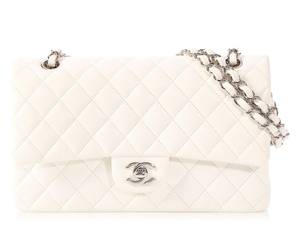 fdd4ab20bed8 Chanel   sold On Aff  medium Large Classic Double Flap Quilted White  Lambskin Leather Shoulder Bag