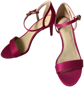 MICHAEL Michael Kors Satin Mid Heel Ankle Strap Party Pink Sandals