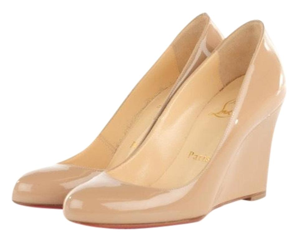 970618742229 Christian Louboutin Nude Ron Ron Zeppa 85 Patent Wedges Shoes 37 Wedges