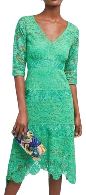 Item - Green Angelica Lace Midi 6p By Plenty By Tracy Reese Mid-length Cocktail Dress Size Petite 6 (S)