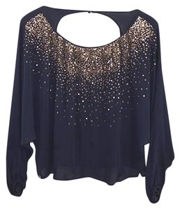 Madison Marcus Silk Sequin Fall Night Out Date Night Top NAVY/ COPPER