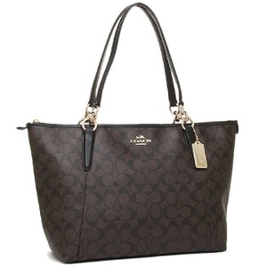 Coach Monogram Zip Top Shoulder Classic Tote in black brown