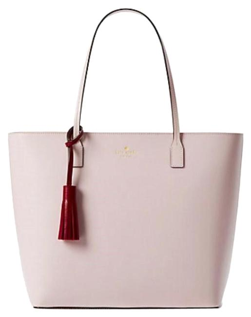 Kate Spade Wright Place Karla Tassel Pink Leather Tote Kate Spade Wright Place Karla Tassel Pink Leather Tote Image 1