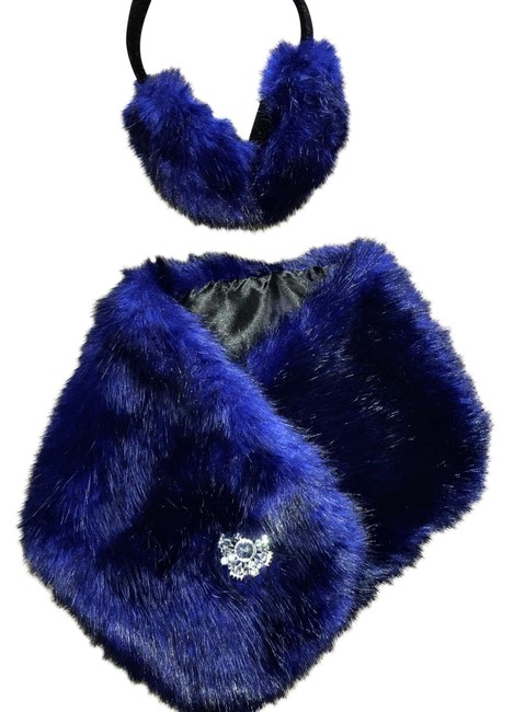 Royal Blue Faux Muffs and Embellished Scarf/Wrap Royal Blue Faux Muffs and Embellished Scarf/Wrap Image 1