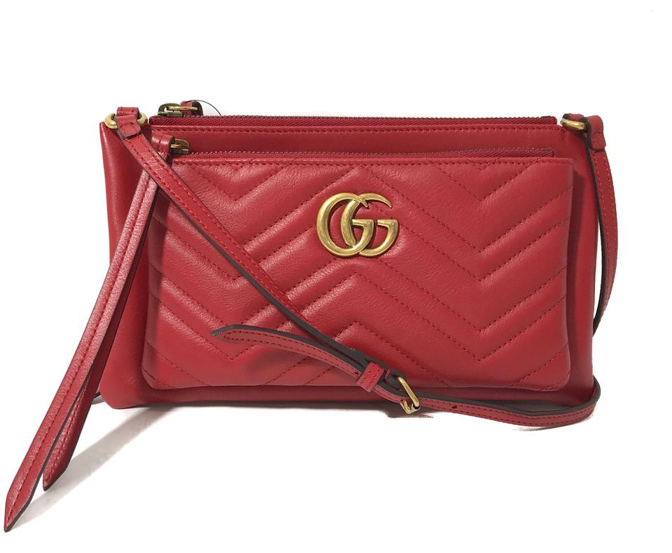 7242ba45028 Gucci Chevron Matelasse Crossbody with Removable Pouch Red Leather ...