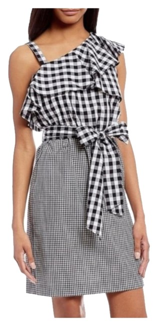 Calvin Klein Gingham One Shoulder Sheath Mid-length Work/Office Dress Size 10 (M) Calvin Klein Gingham One Shoulder Sheath Mid-length Work/Office Dress Size 10 (M) Image 1