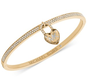 Michael Kors Michael Kors Pavé & Heart Lock Charm Bangle Bracelet
