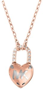 Michael Kors Rose Gold-Tone Logo Love Heart Pendant