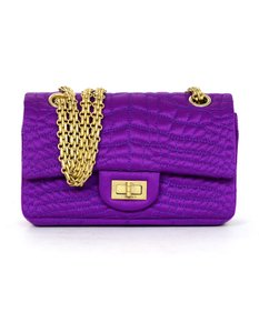 Chanel Quilted Croc Gold Hardware Front Flap Cross Body Bag