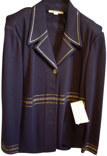 Item - Navy Blue Knit Jacket/St. Collection Blazer Size 12 (L)