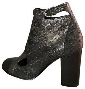 Chanel Leather Ankle Strap Cut Out Details Buttons Dark silver, grey metallic Boots