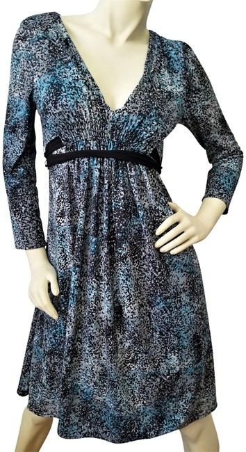 Item - Teal Black Gray Fit and Flare V-neck Pullover Mid-length Work/Office Dress Size 10 (M)