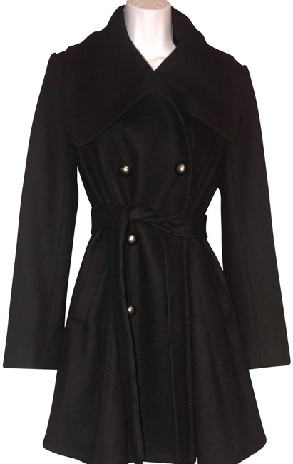 Alice + Olivia Black Soft Wool Blend Belted Coat Size 6 (S) Alice + Olivia Black Soft Wool Blend Belted Coat Size 6 (S) Image 1