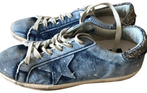 Golden Goose Deluxe Brand Sneakers Distressed Denim Bleached Athletic