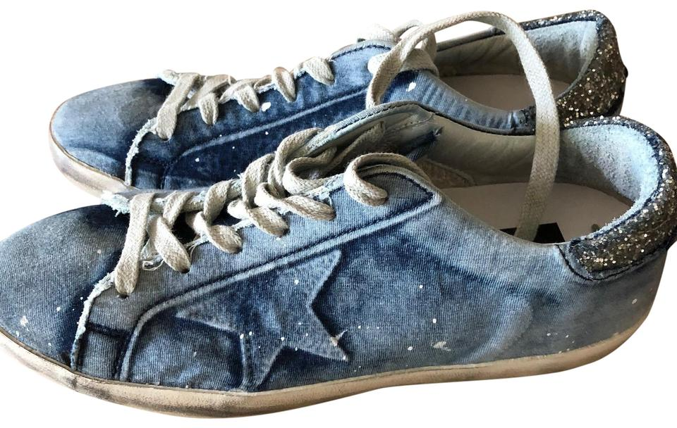 fa1def0ff7fc7 Golden Goose Deluxe Brand Sneakers Distressed Denim Bleached Athletic Image  0 ...
