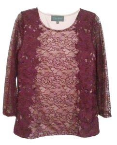 Anthropologie Pullover Styling Sheer Sleeves Lined Unlined Sleeves Dress Up Or Down Top Wine