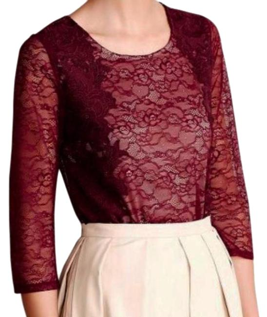 Anthropologie Pullover Styling Sheer Sleeves Lined Unlined Sleeves Dress Up Or Down Top Wine Image 2