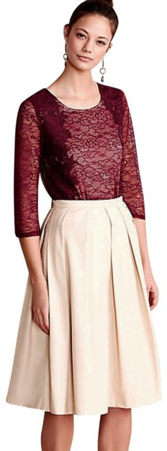 Anthropologie Pullover Styling Sheer Sleeves Lined Unlined Sleeves Dress Up Or Down Top Wine Image 4