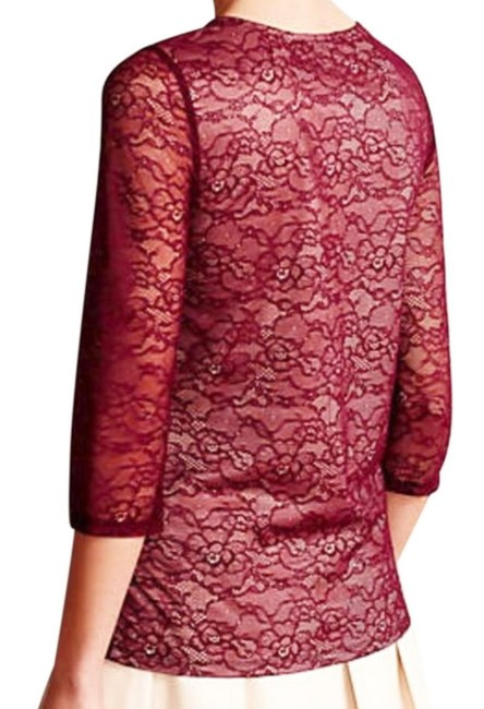 Anthropologie Pullover Styling Sheer Sleeves Lined Unlined Sleeves Dress Up Or Down Top Wine Image 5
