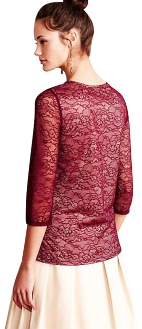 Anthropologie Pullover Styling Sheer Sleeves Lined Unlined Sleeves Dress Up Or Down Top Wine Image 6