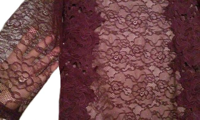 Anthropologie Pullover Styling Sheer Sleeves Lined Unlined Sleeves Dress Up Or Down Top Wine Image 8