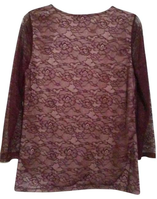 Anthropologie Pullover Styling Sheer Sleeves Lined Unlined Sleeves Dress Up Or Down Top Wine Image 9