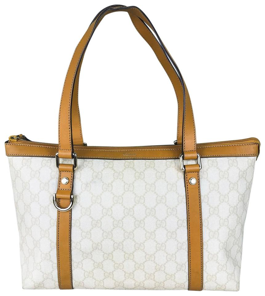 5db8ac86ce4 Gucci Abbey Web D-ring Ivory Coated Canvas Shoulder Bag - Tradesy