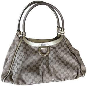 Gucci Monogram Hardware Top Handle Tote in Beige/Gold accent