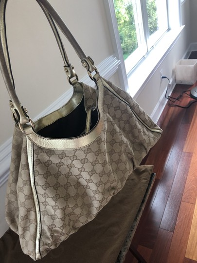 Gucci Monogram Hardware Top Handle Tote in Beige/Gold accent Image 2