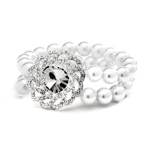 Mariell 2-row Stretch Wedding Bracelet With Bold Crystal Motif 4153b-w
