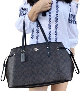 Coach Drawstring New With Tag Signature Tote in Brown Black