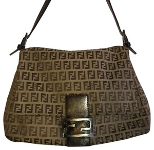 9576fd5e6a61 Fendi Monogram Zucchino Brown Canvas Shoulder Bag