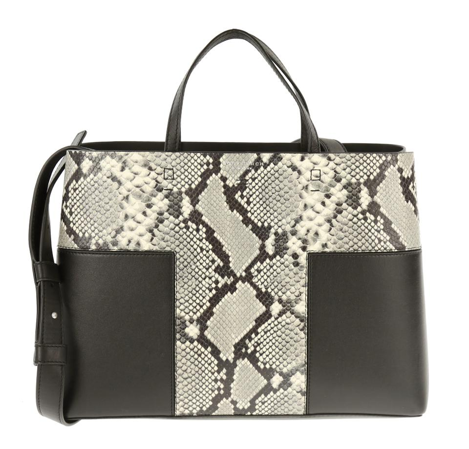 24ab945a69 Tory Burch Block-T T Snakeskin Embossed Black Leather Tote - Tradesy