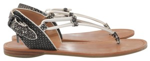 Coach Flip Flops Leather Flats Brown Sandals