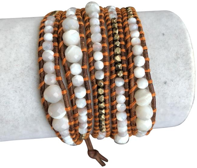 Chan Luu Mother Of Pearl New Graduated Five Wrap Brown Leathe Bracelet Chan Luu Mother Of Pearl New Graduated Five Wrap Brown Leathe Bracelet Image 1