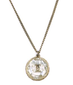 Chanel CC Resin inlay with crystals gold necklace