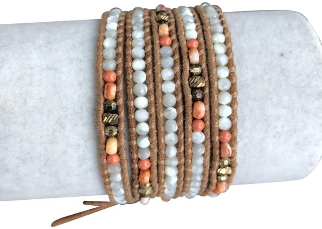 Chan Luu Mother Of Pearl New & Salmon Mix Five Wrap Leather B Bracelet Chan Luu Mother Of Pearl New & Salmon Mix Five Wrap Leather B Bracelet Image 1