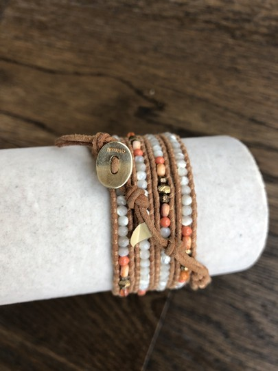Chan Luu New Auth Chan Luu MOP Mother of Pearl & Salmon Mix Five Wrap Leather B Image 4