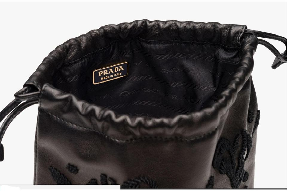 39a9ee113130 Prada Evening Bag Clutch Embroidered Black Leather Wristlet - Tradesy